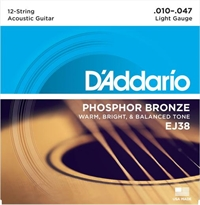 D'addario EJ38 Light 12-string Phosphor Bronze. Set med 12 strängar.